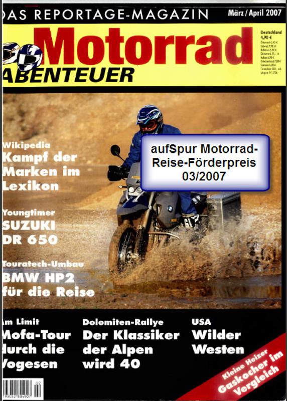 2007 Mrz Motorradabenteuer Förderpreisgewinn