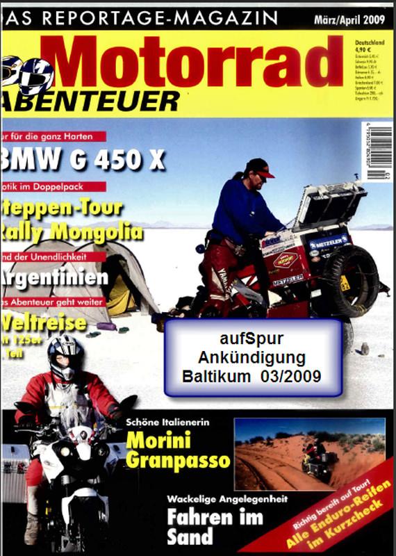 2009 Mrz Motorradabenteuer Reiseankuendigung